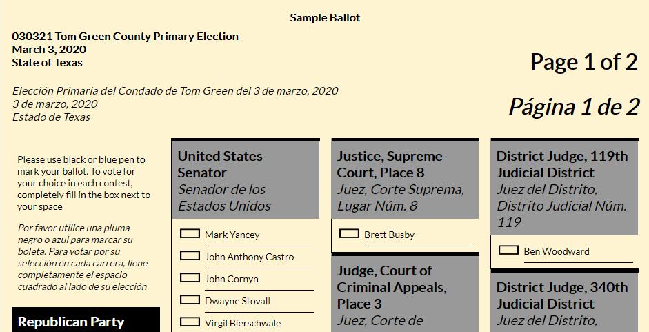 2020 Republican Primary Ballot