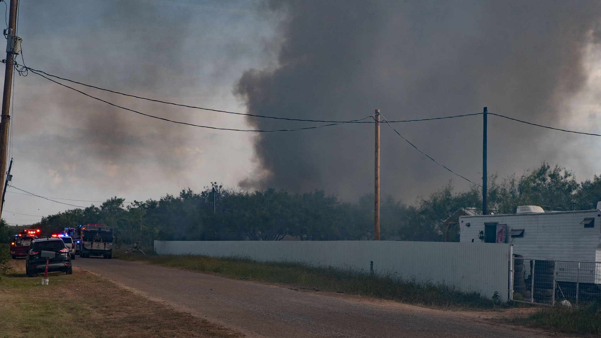 Units from the Grape Creek and Quail Valley Volunteer Fire Departments respond to a structure fire on the 1000 block of Cottontail Lane in Grape Creek on September 21, 2021