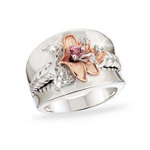 The Concorde Collection Hope For The Cure Believe In Miracles 174 Ring Pink Topaz White Topaz