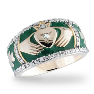 The Concorde Collection Irish Promise Claddagh Ring  Diamonds Enamel 14K Gold Sterling