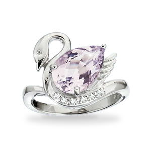 The Concorde Collection Grace And Beauty Swan Ring Pink Amethyst White Topaz Diamond