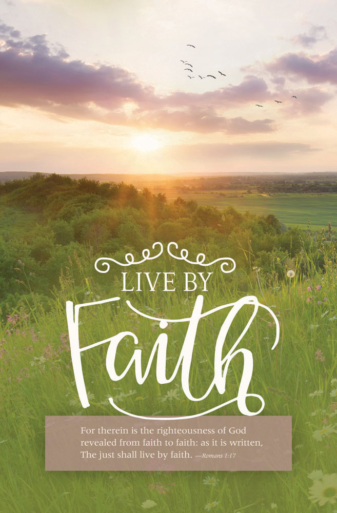 Church Bulletin 11  Inspirational Worship  Live by Faith Pack of 100