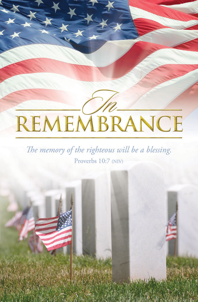 Church Bulletin 11  Patriotic  Remembrance Pack of 100