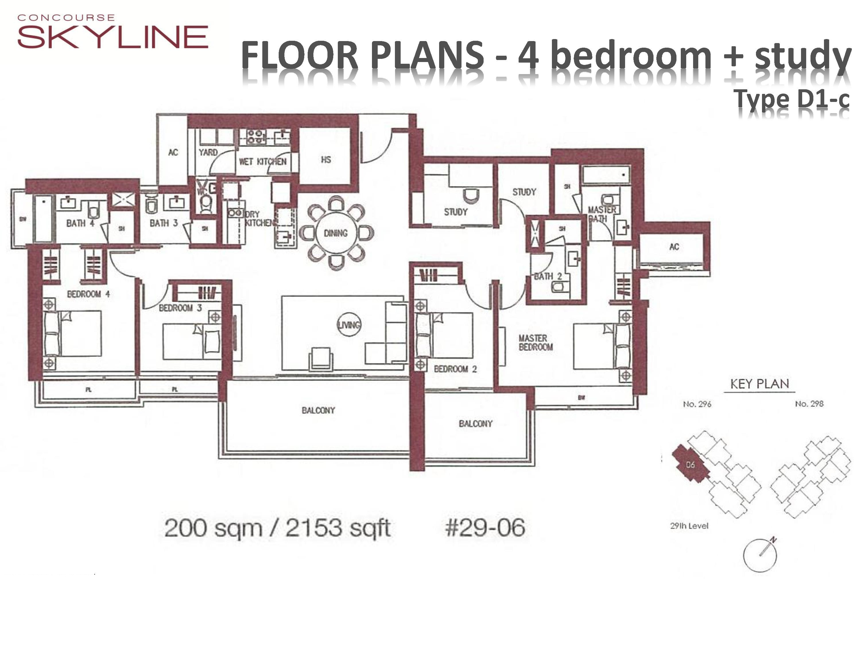 Concourse Skyline 4 Bedroom + Study Type D1-c Floor Plans