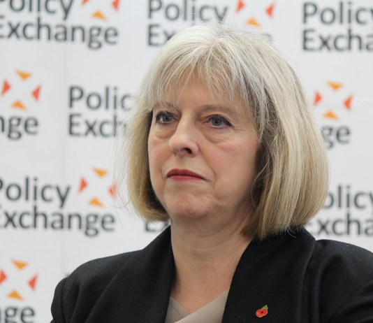 Theresa May, the home secretary, at the Policy Exchange.