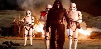 Kylo Ren (Adam Driver), armed with Stormtroopers, descends on Jakku and causes trouble.