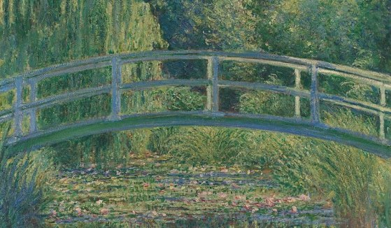 This painting reminds me of my childhood: Monet's Water Lily Pond