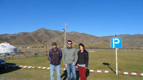 Dzergo (our driver), myself, and Audrey in Kharkhorin before our return to Ulaanbaatar.