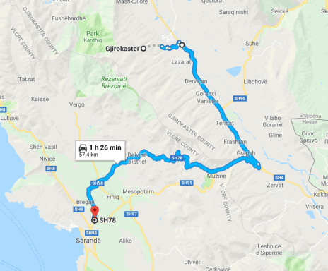 albania road trip - bad road