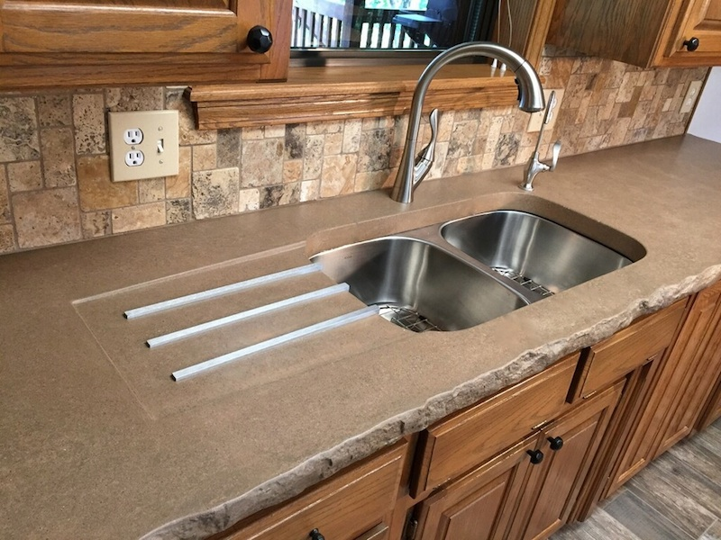 concrete kitchen sink furniture sets integrated with drainer creations nwa
