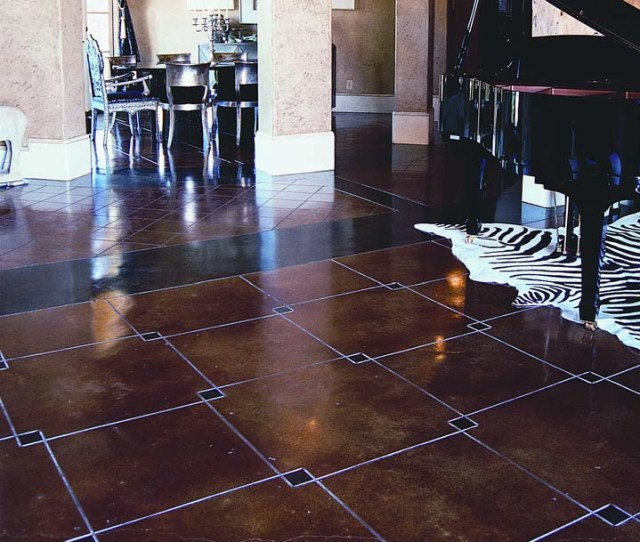 Geometric Squared Are Placed In This Concrete Floor And Acid Stained To Accent The Overlapped Corners