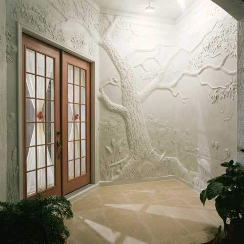 classical relief sculpture made from overlays and plaster concrete