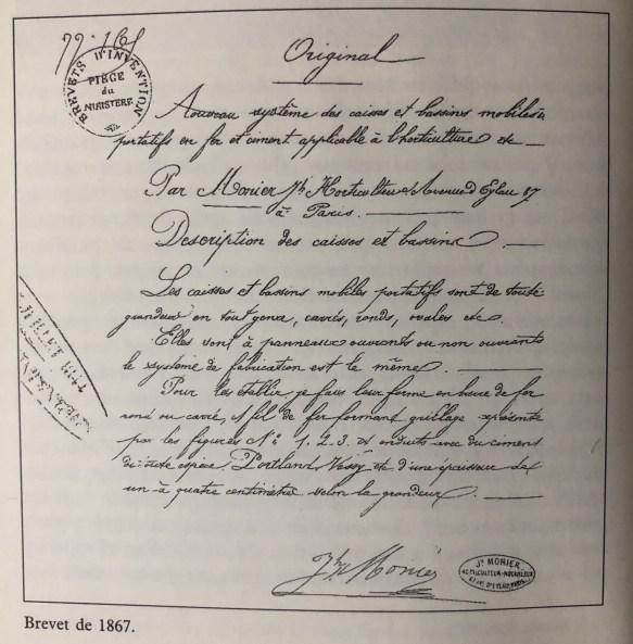 ciment armé Brevet Joseph Monier