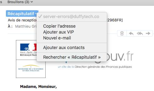 Piège de l'adresse mail