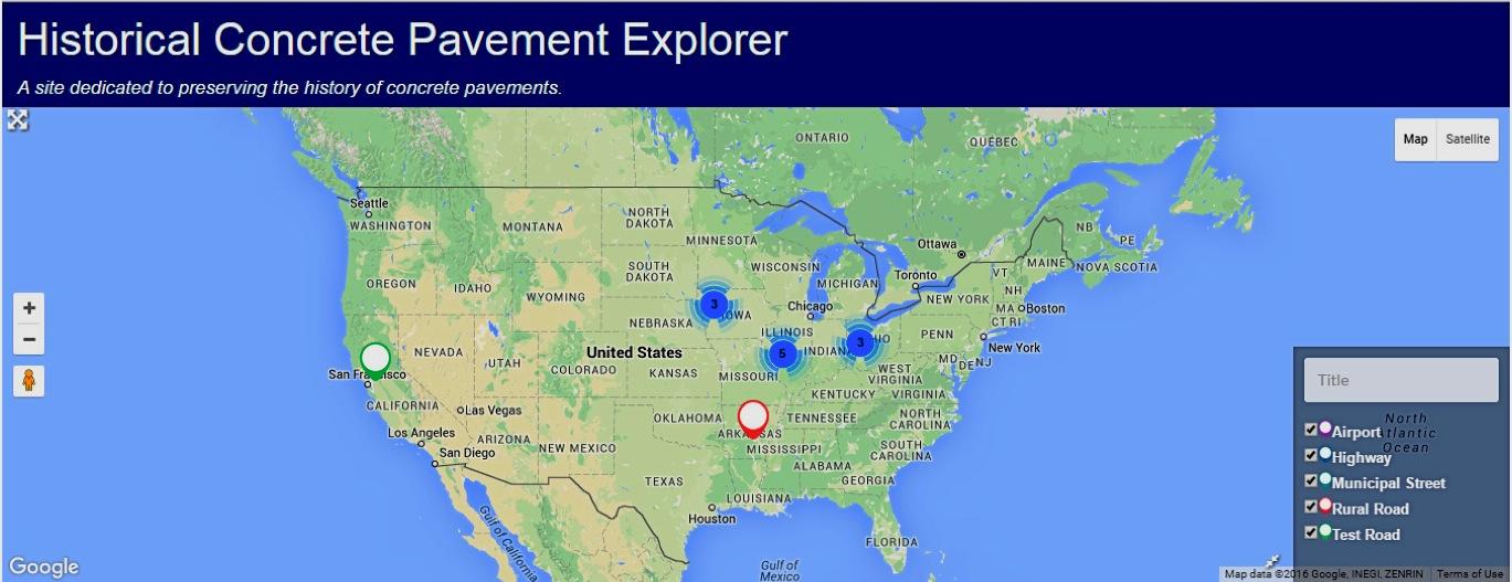 """""""Historic Concrete Pavement Explorer"""" Archival Website"""