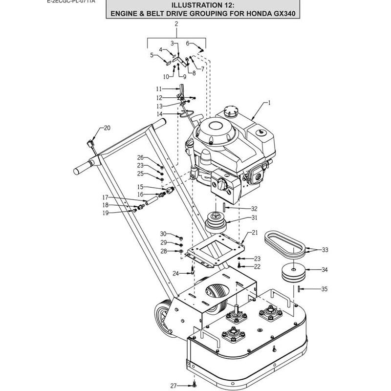 Edco 2GC 11H Concrete Grinder 51400 Parts