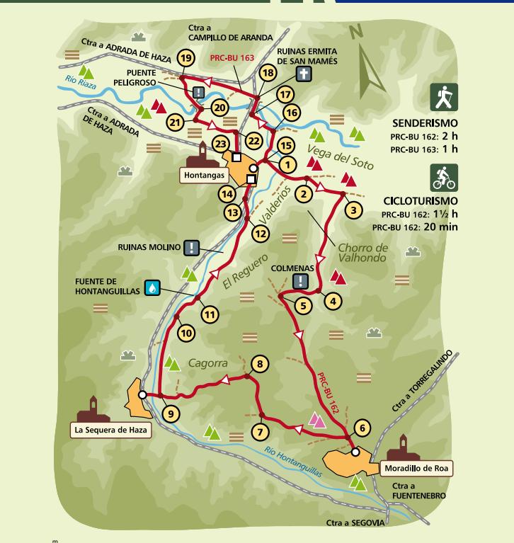 Mapa Senderos PRC-BU-162 y 163. Sendero del Arroyo Hontanguillas por Hontangas, Moradillo de Roa y La Sequera de Haza
