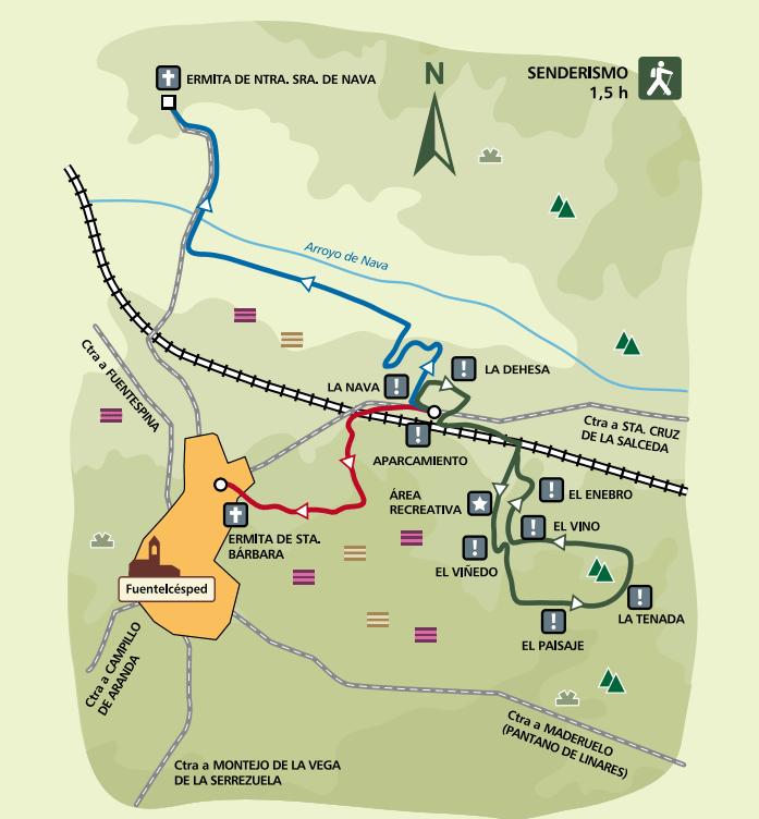 Mapa Sendero interpretativo autoguiado La Dehesa en Fuentelcésped