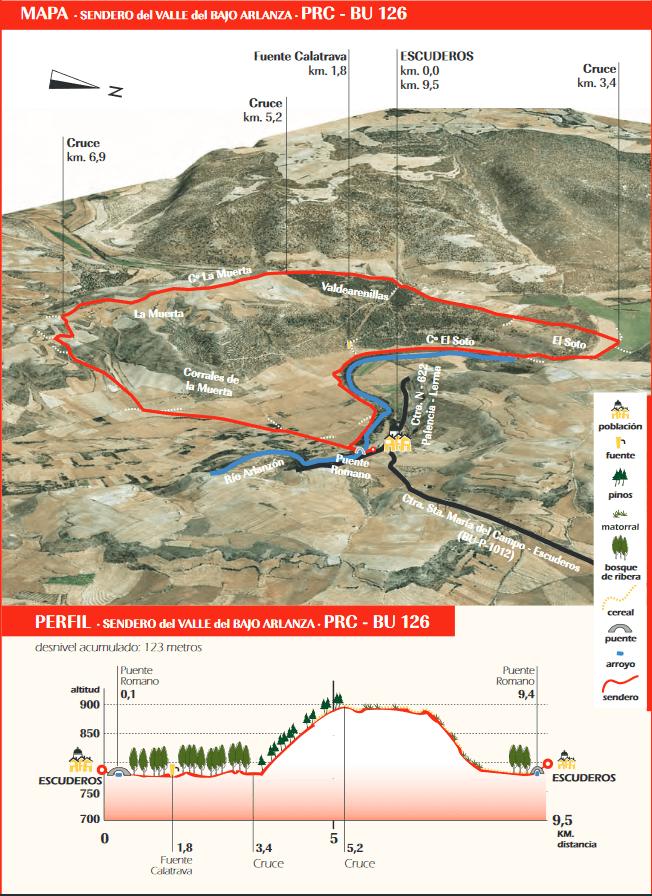 Mapa sendero PR-BU-126 por el valle del Bajo Arlanza en Escuderos