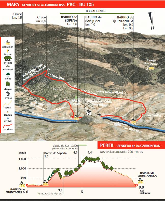 Mapa Sendero PR-BU 125. Sendero de las Carboneras