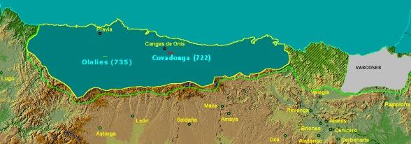 Situación del núcleo cristiano cantábrico en torno al año 740