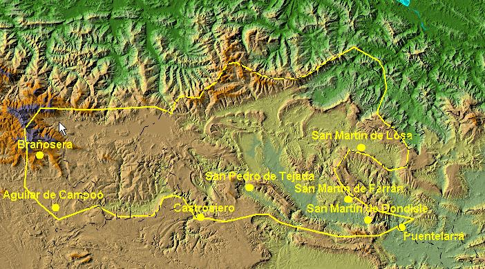 Extensión aproximada del condado de Castilla hacia el 860