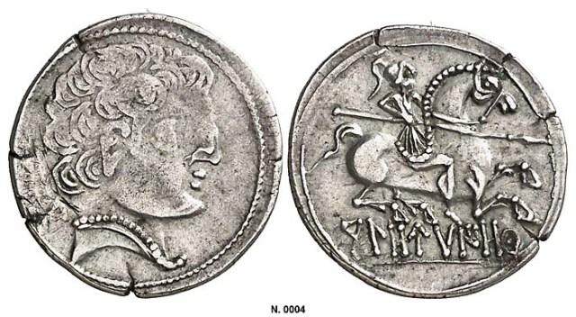 Denario ceca Kolounioku en alfabeto ibérico (Clunia)