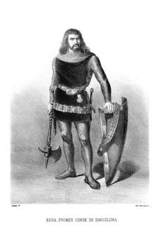 Litografía del conde Bera de Barcelona. Historia de España Ilustrada (1872)