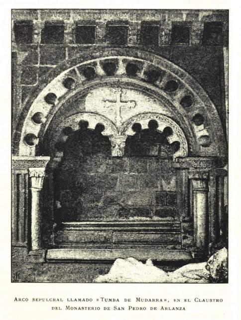 Grabado del sepulcro de Mudarra en el claustro de San Pedro de Arlanza