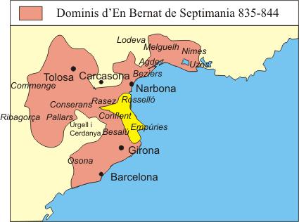 Dominios de Bernardo de Septimania entre los años 835 y 844