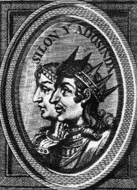 Silo y Adosinda en un grabado del siglo XVIII