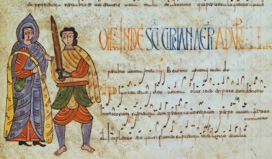 Antifonario visigótico de León. s. X. fol. 234. San Cipriano y su verdugo
