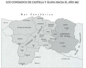Condados de Castilla y Álava hacia el 882