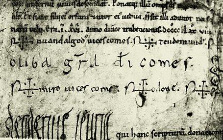 Firma de Oliba Cabreta en una copia del s. XII de la donación hecha por Mirón III Bonfill a San Pedro de Besalú © Fototeca.cat