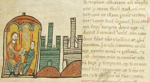 Bernardo I Tallaferro de Besalú recibiendo el homenaje de su hijo Guillermo - Liber feudorum, 61r
