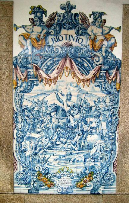 Representación de Hermenegildo Gutiérrez en un azulejo de Rio Tinto (Portugal)