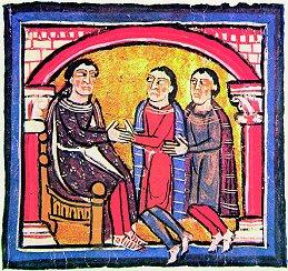 Liber feudorum ceritaniae (c.1200). Caballeros haciendo homenaje al conde Guislaberto II de Rosellón. (Archivo de la Corona de Aragón)