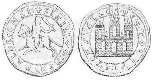 Sello de Alfonso VIII con el escudo de Castilla