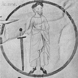 Berenguer Ramón I. Miniatura del rollo genealógico de la Corona de Aragón conservado hoy en la biblioteca del monasterio de Poblet