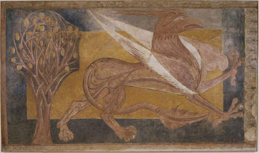 Grifo. Pintura mural de San Pedro de Arlanza. Galería de arte románico del MNAC de Barcelona.