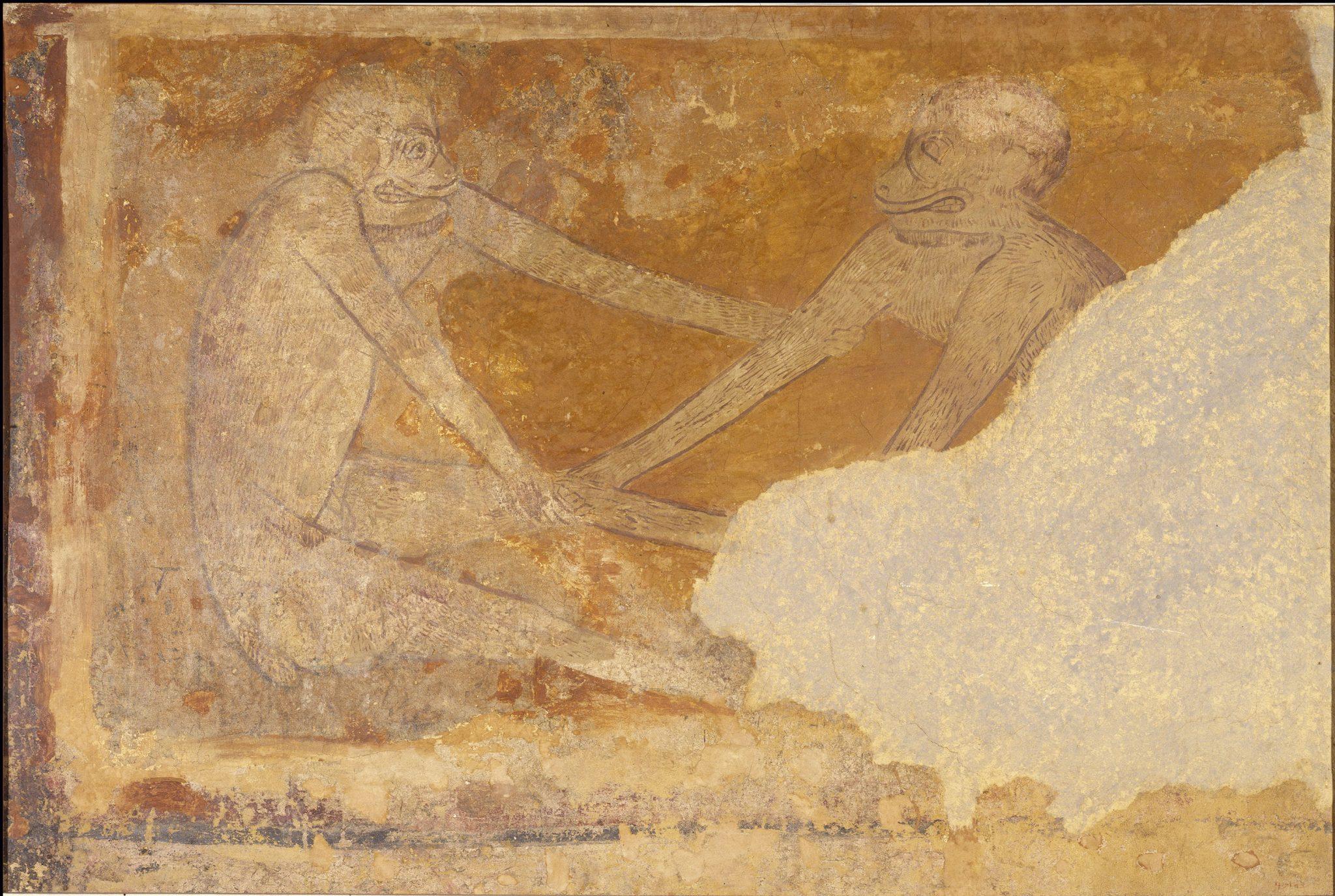 Simios. Pinturas de San Pedro de Arlanza. Galería de arte románico del MNAC de Barcelona