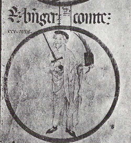 Miniatura de Ramón Berenguer II procedente de las genealogías del monasterio de Poblet