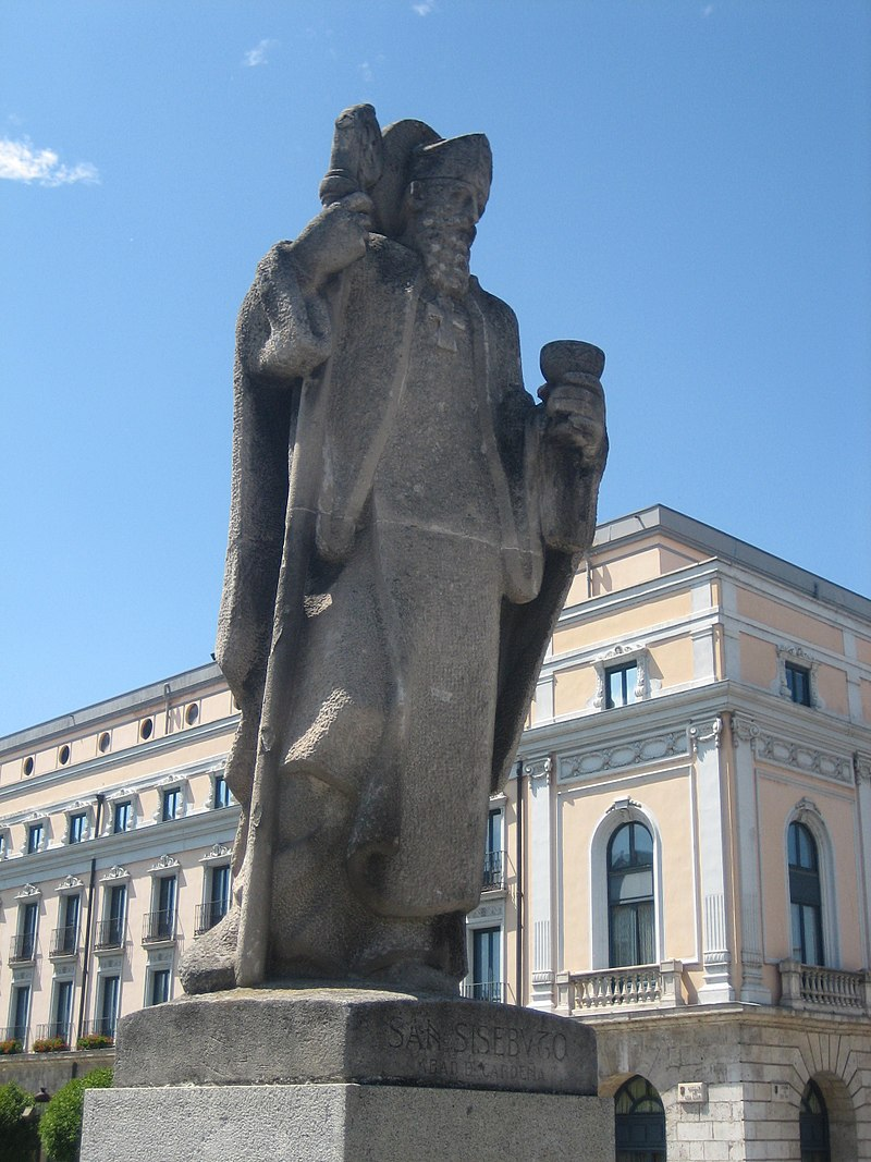 Estatua de San Sisebuto en el puente de San Pablo de Burgos. Obra de Joaquín Lucarini