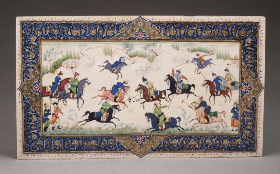 Miniatura persa pintada sobre marfil representando jugadores de polo