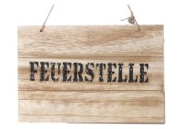 "Holzschild ""Feuerstelle"" Shabby Chic Wandbild Trschild"