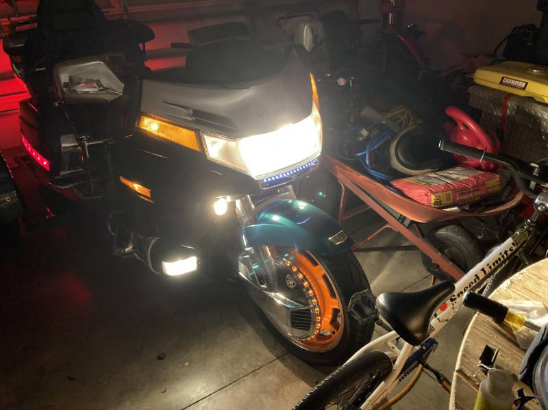 Motorcycle in a garage at night