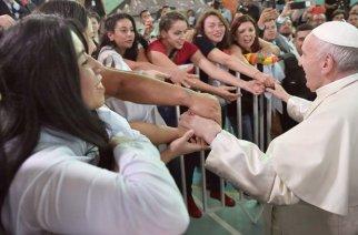 Papst Franziskus besucht das Frauengefängnis von San Joaquín in Santiago de Chile.
