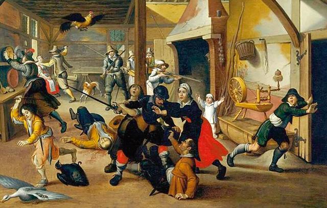 Dreißigjähriger Krieg 1618-1648: Marodierende Soldaten bedrohen eine Familie: Gemälde von Sebastian Vrancx, 1647, Deutsches Historisches Museum Berlin.