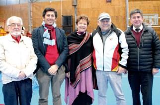 Wolf Dieter Heim, fundador del evento deportivo; Gabriel Saldivia Yáñez, rector de Instituto Alemán de Puerto Montt; María Eugenia Niemeyer, rectora Deutsche Schule Puerto Varas; Christian Kuschel, director académico DSPV