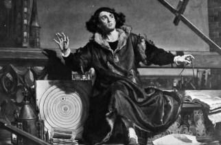 Nikolaus Kopernikus (1473-1543) bei der Himmelsbeobachtung nach einem Gemälde von Jan Mateijko.
